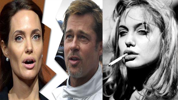 Angelina Jolie smoking a cigarette