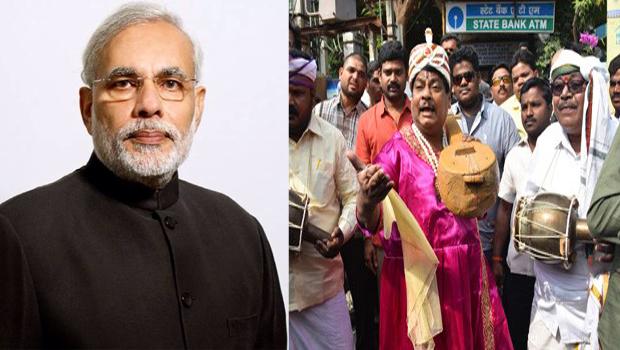 Sivaprasad stages novel protest in Tirupati over demonetisation
