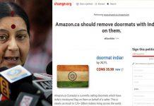 Sushma Swaraj warning Amazon Canada to remove insulting National Flag doormat