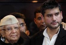former ap governor nd tiwari and son rohit join in bjp party