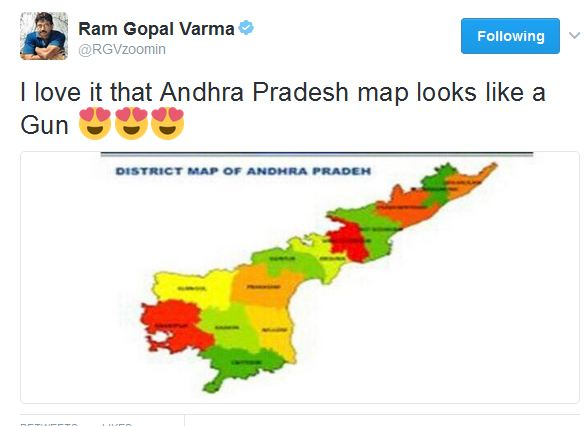 ram gopal varma says andhra pradesh map look like gun
