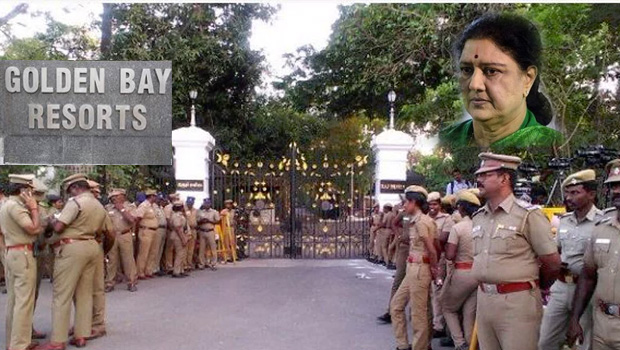 tamil nadu police surrounding the golden bay resorts for sasikala