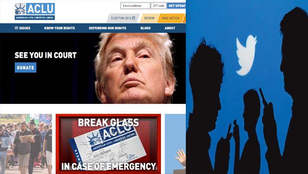 twitter donated to money american civil liberties union against trump