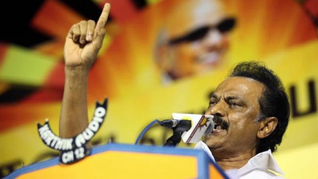 dmk leader stalin politics on hindi language